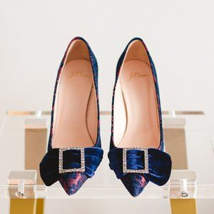 J. Crew Brocade Elsie Pumps 7.5 Heels Blue Crystal